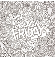 Cartoon cute doodles Black friday inscription vector image vector image