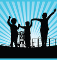children in the park silhouette vector image