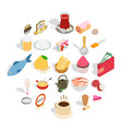 dishes icons set isometric style vector image vector image