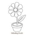 Flower cartoon coloring book vector image vector image