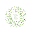 frame with leaves fruits and vegetables vector image vector image