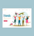 friend bday flat landing page template vector image vector image