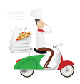 Funny chef delivering pizza on a moped vector image vector image