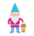 gnome without face and colorful costume with hand vector image