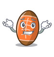 grinning rugby ball character cartoon vector image vector image