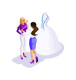 isometric woman preparing for the wedding the bri vector image