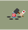 japan trying to hit the north korean flag vector image vector image