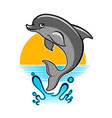 jumping dolphin cartoon vector image vector image