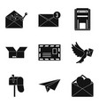 mailing list icons set simple style vector image vector image