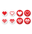 Pixeleted red heart icons set - love dating onlin vector image vector image