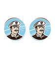 portrait of happy captain logo or label cartoon vector image vector image