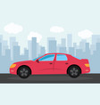 red sports car in the background of skyscrapers vector image vector image
