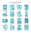 restaurant kitchen equipment icon set in colored vector image vector image