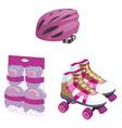 roller skating cute cartoon equipment set vector image vector image