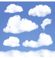 set realistic clouds on blue sky vector image
