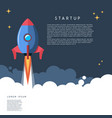 startup rocket launch in cartoon style vector image vector image