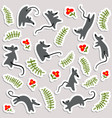 stickers with mouses and flowers labels with cute vector image
