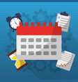 time calendar alarm document work gears vector image vector image