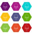watermelon ice cream icons set 9 vector image vector image