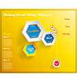 Web design template with hexagons on yellow vector image