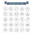 wedding line icons vector image vector image