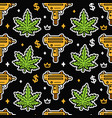 weed leafs and gold submachine gun seamless vector image vector image