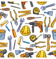 work tools repair sketch seamless pattern vector image