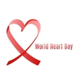 world heart day ribbon vector image