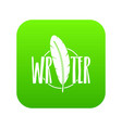 writing pen icon green vector image