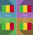 Flags Mali Set of colors flat design and long vector image