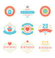 happy birthday badges and labels design vector image