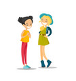 young caucasian white girls talking and laughing vector image