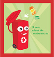 a cartoon representing a funny recycling bin vector image vector image