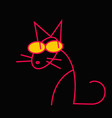 a red cat on black background vector image