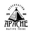 apache tribe vintage emblem label badge o vector image vector image