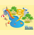 aquapark horizontal web banner with different vector image
