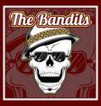 bandits skull wearing cap hand drawing vector image vector image