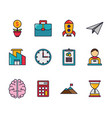 business startup success icons set vector image vector image