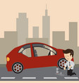 businessman use a jack to change a tire vector image