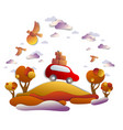 car travel and tourism in autumn red minivan with vector image vector image
