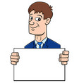 cartoon businessman with board vector image vector image