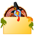 cartoon turkey banner vector image vector image