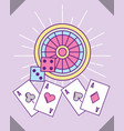 casino roulette dices and aces cards poker vector image vector image