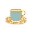 ceramic cup and saucer cute ceramic crockery vector image vector image