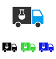 chemical delivery truck flat icon vector image vector image