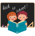 Children at school reading a book vector image vector image