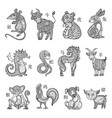 chinese zodiac cartoon style vector image vector image