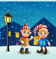 christmas elf couple with snowfall falling at nigh vector image vector image