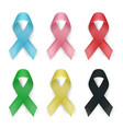 color awareness ribbon set cancer ribbons vector image