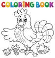 coloring book happy hen vector image vector image